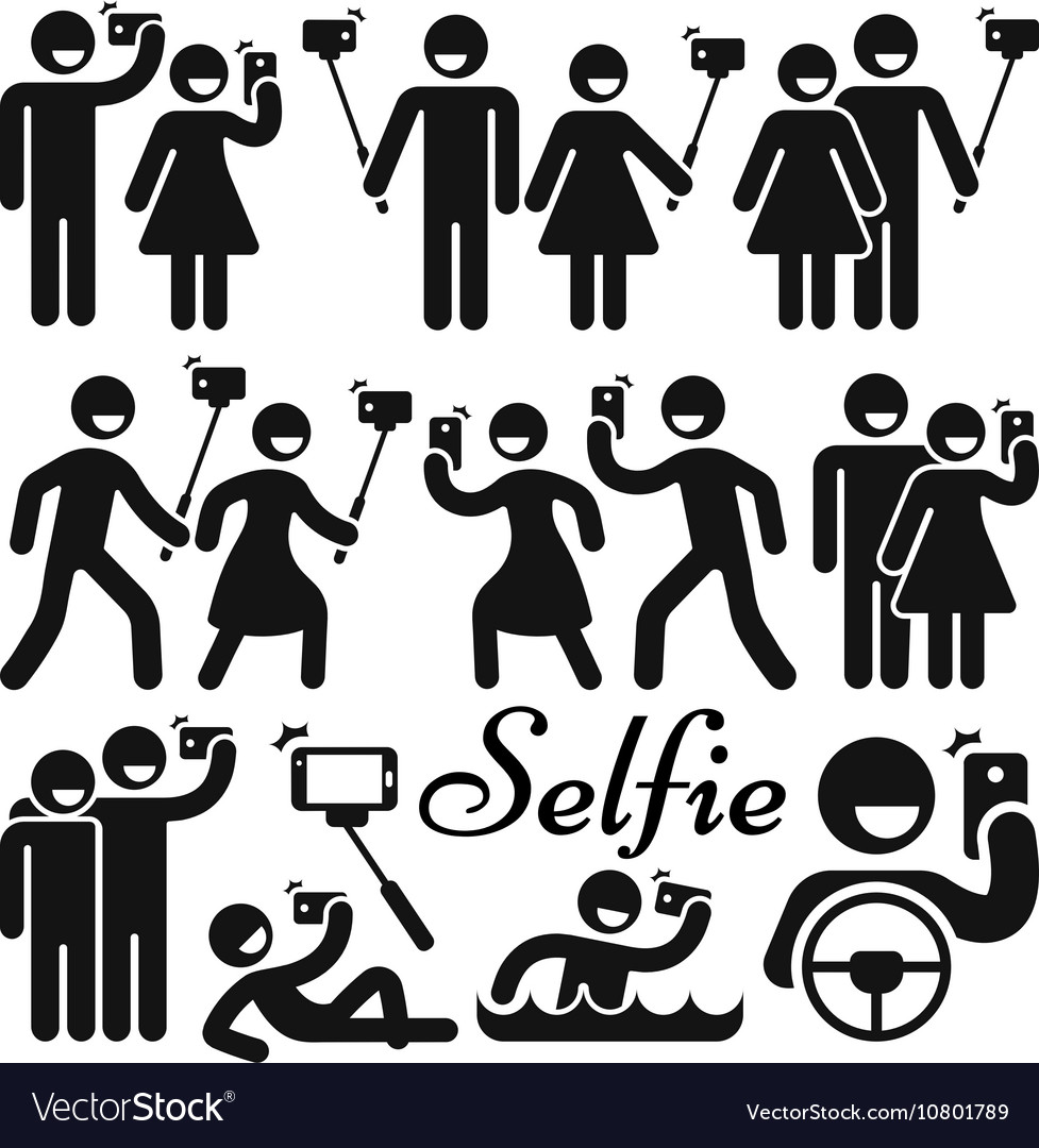 Selfie stick woman and man icons set vector