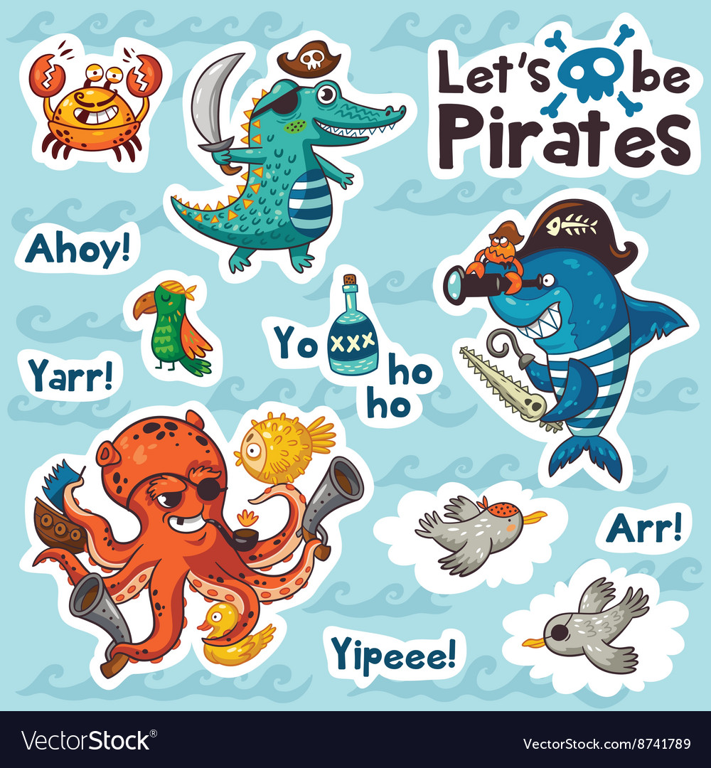 Sticker set of underwater pirates in cartoon style vector