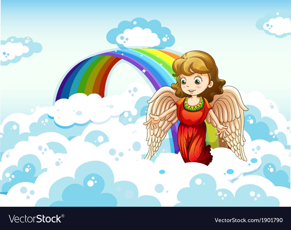 An angel in the sky near the rainbow vector