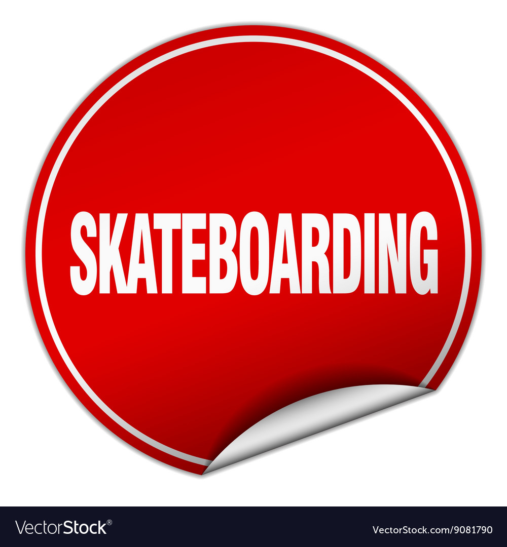 Skateboarding round red sticker isolated on white vector