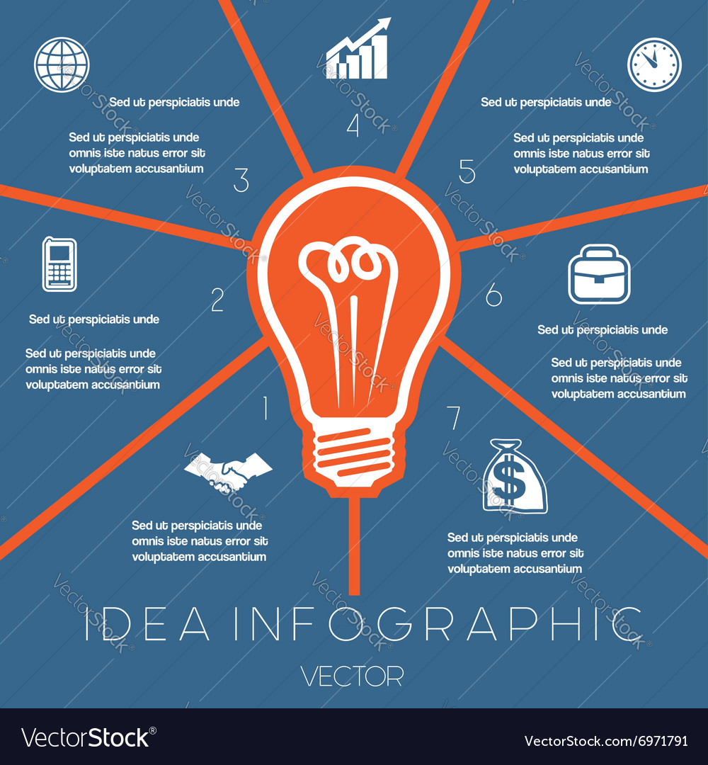 Idea business concept light bulb infographic 7 vector