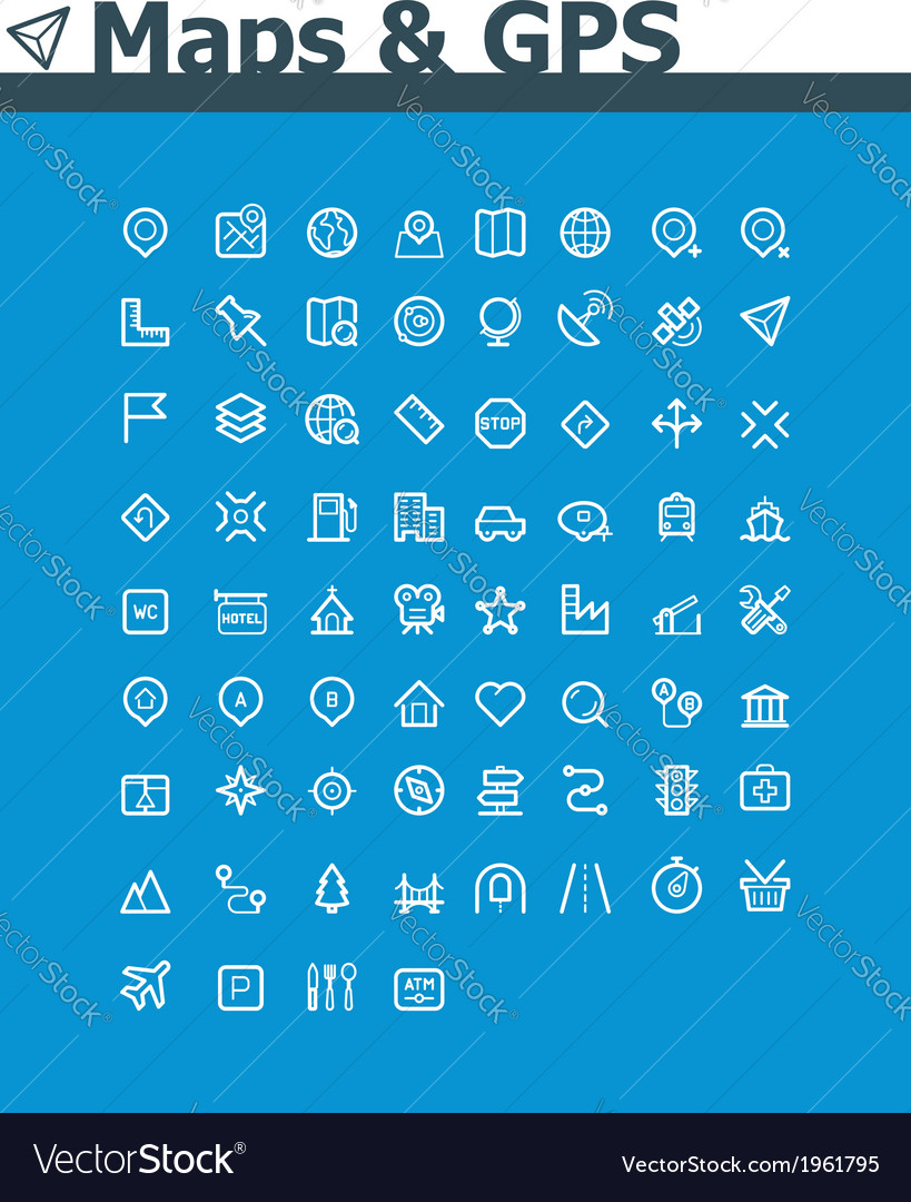 Maps and navigation icon set vector
