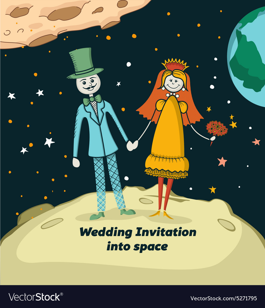 Wedding invitation into space vector