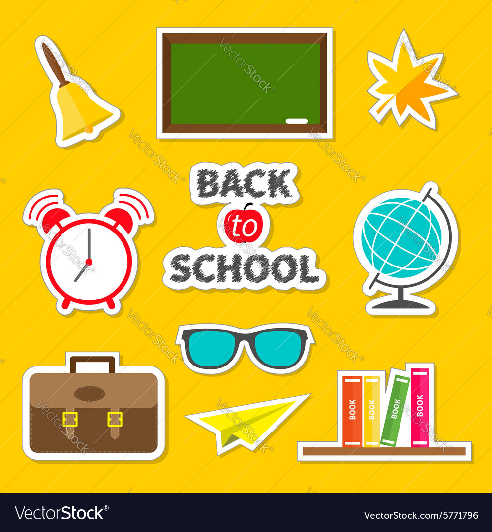 Back to school icon set sticker collection green vector
