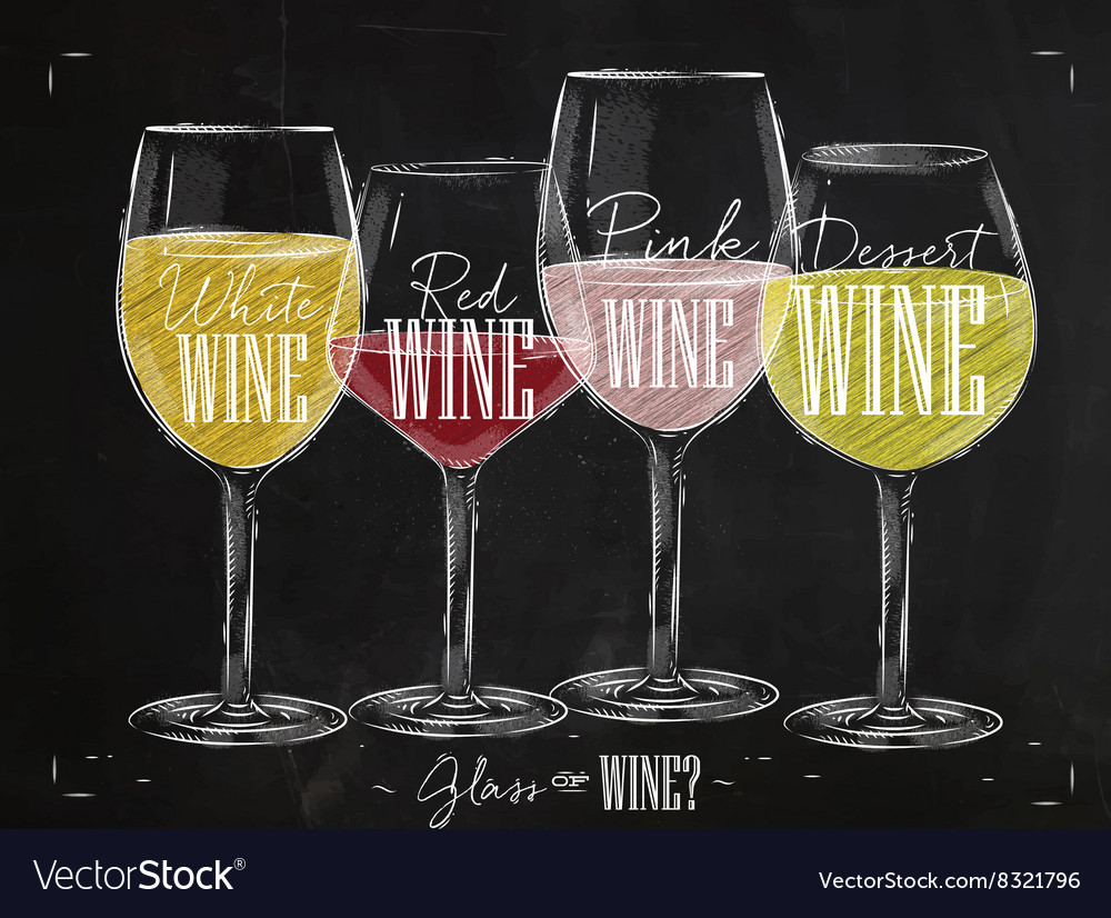 Poster types of wine chalk vector