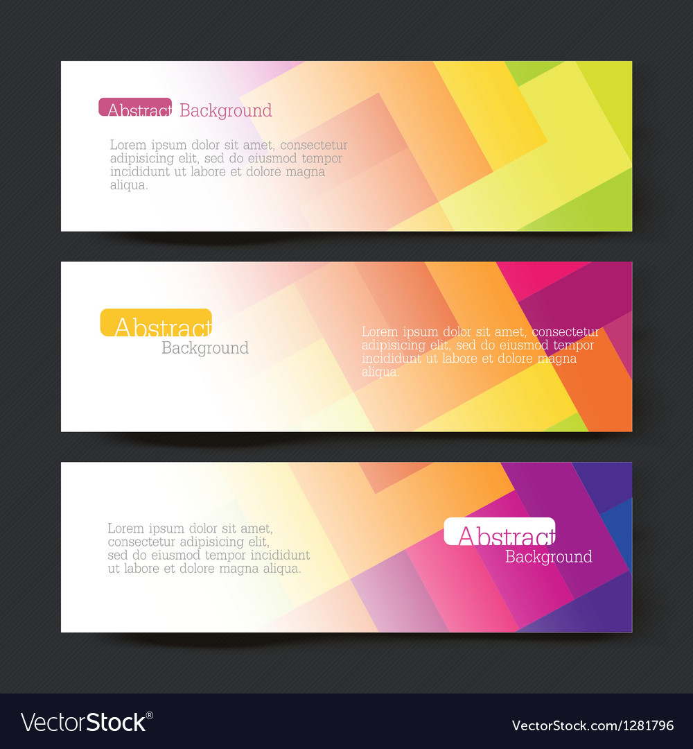 Set of three colorful banners vector