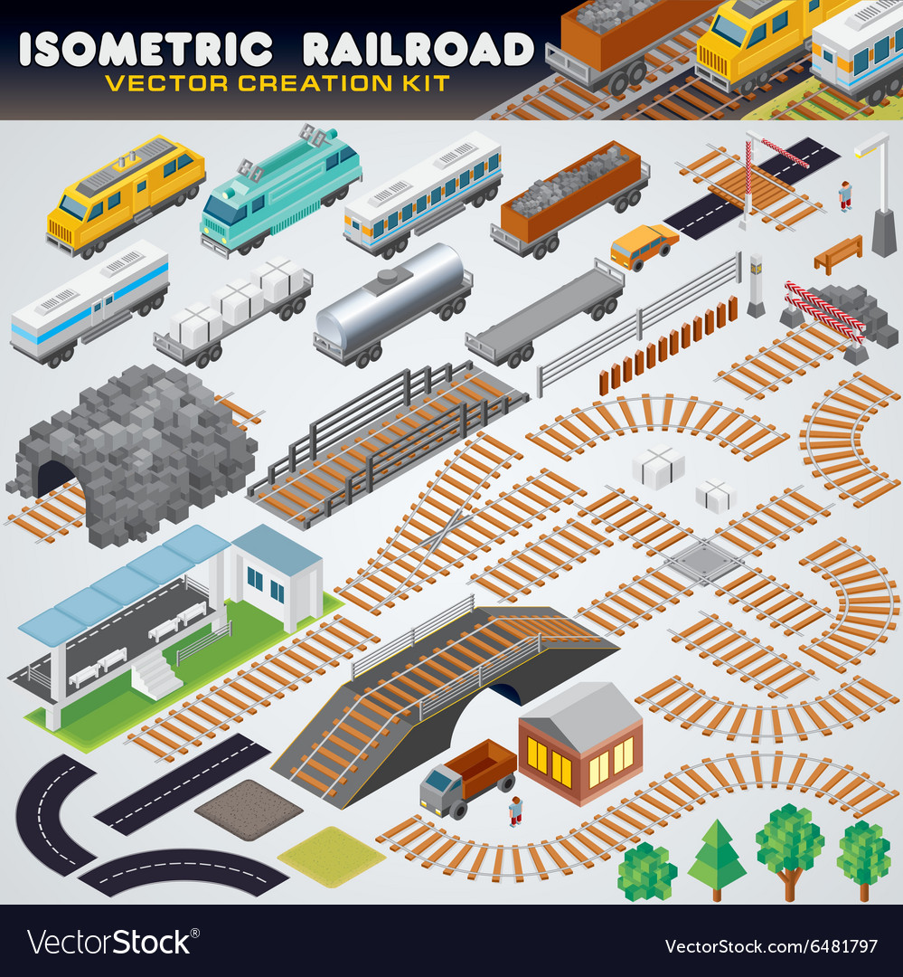 Isometric railroad train detailed 3d vector