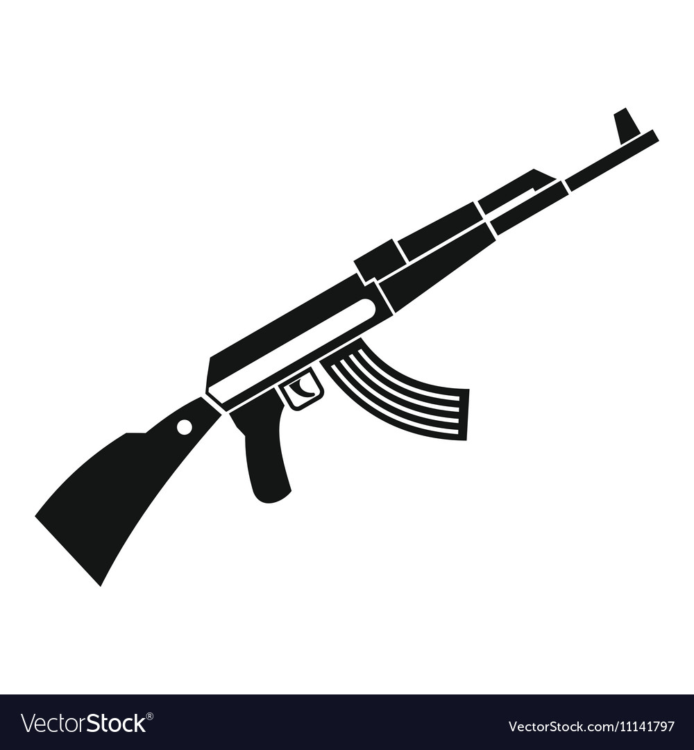 Kalashnikov machine icon simple style vector