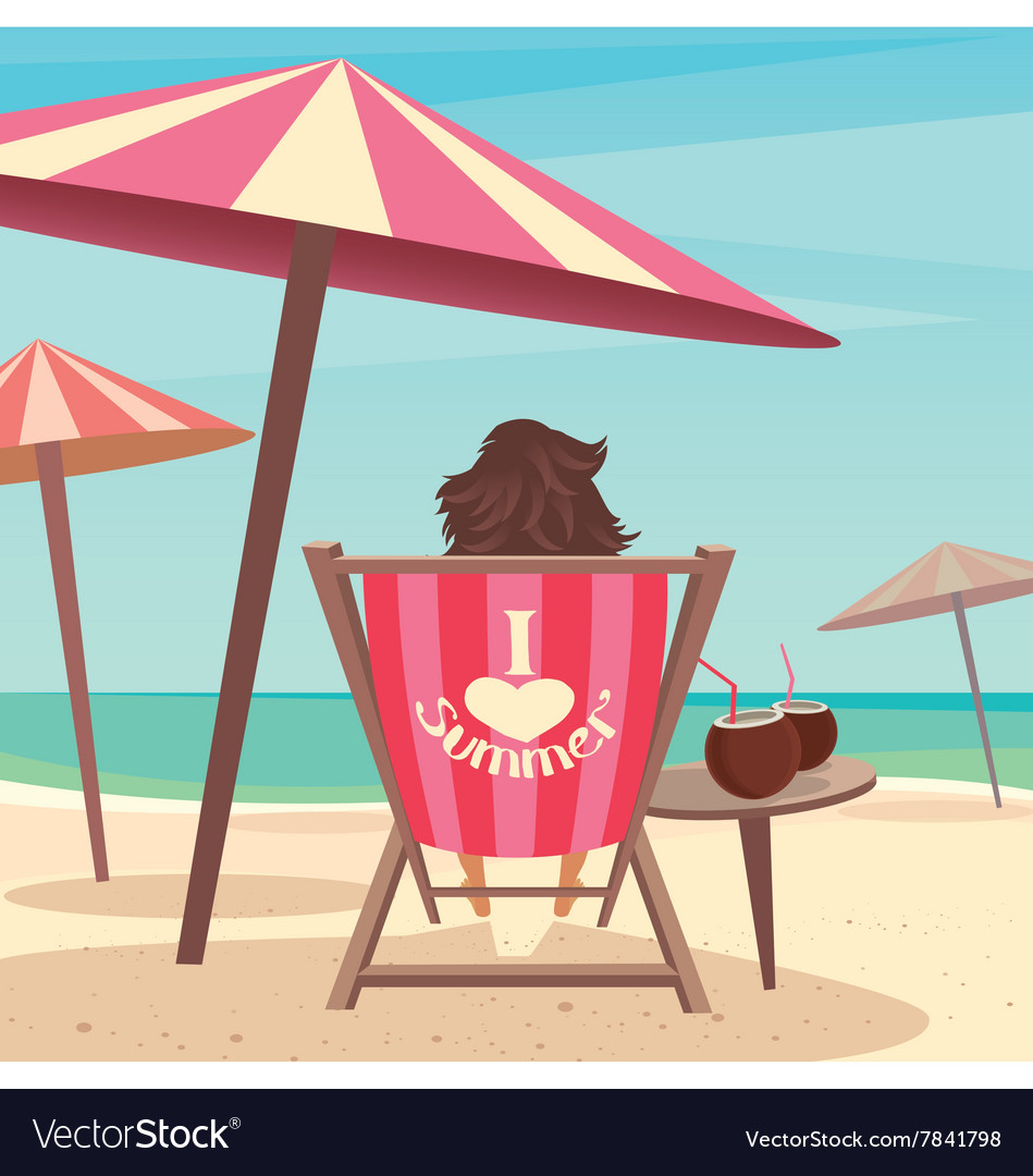 Girl sunbathes on the beach vector
