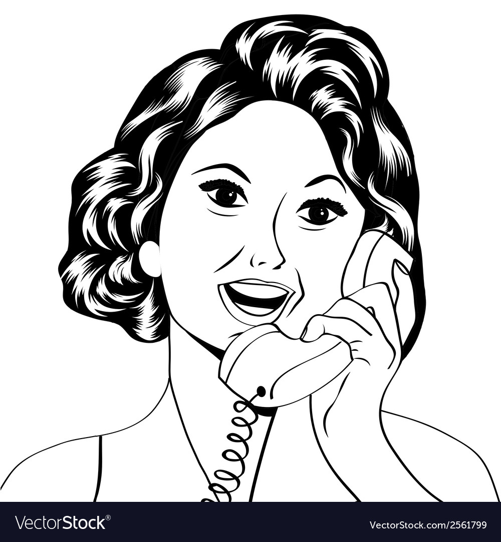 Pop art lady chatting on the phone vector