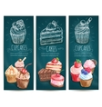 Cupcakes cakes pastries desserts banners vector image