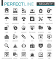 Black classic security icons set protection vector image