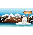 A polar bear above the iceberg with a signboard vector image vector image