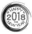 2018 card with happy new year text and black vector image
