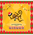 Vintage circus card with a monkey vector image