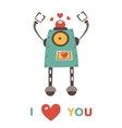 Colorful robot in love character vector image vector image