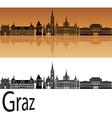 Graz skyline in orange vector image vector image