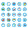Christmas symbols flat round icons set vector image