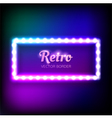 Glowing neon frame with light bulbs vector image