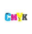 cmyk concept stamped word art vector image