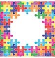 Colored frame made up of pieces puzzle vector image