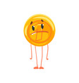 golden coin character with sad face legs and arms vector image