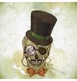 Hipster skull vintage background vector image
