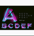 neon font glowing colorful alphabet on dark vector image