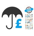 Pound Financial Umbrella Icon With 2017 Year Bonus vector image