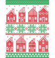 Christmas Swedish winter houses in red and green vector image