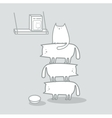 Cats stacked to reach cat food vector image vector image