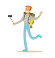 smiling tourists man with backpack standing and vector image