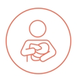 Woman nursing baby line icon vector image