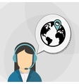 Call center design Communication icon flat vector image