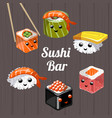 a set of different japanese sushi and rolls vector image