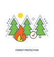 concept of forest fire protection vector image
