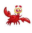 happy cartoon marine crab with big claws vector image