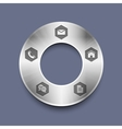 Metallic round web design template vector image