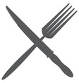 monochrome image of fork and table knife vector image