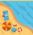 top view beach summer towel bikini umbrella vector image