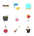 Sorcery icons set cartoon style vector image