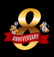 Golden 8 years anniversary template with red vector image