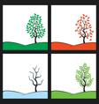 seasons tree on hill vector image vector image