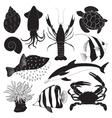 Black Sea Creature Icons vector image