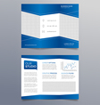 Business trifold brochure template - modern blue vector image