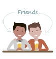 Two man friends drinking beer vector image