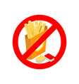 Stop French fries Ban fatty fast food Sliced vector image