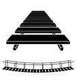 3D simple wooden bridge black symbol vector image