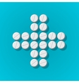 Cross shape with medical pills on blue background vector image