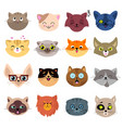 fun cartoon cat faces cute kitten portraits vector image vector image
